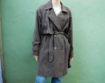 vintage sage green belted trench coat / double breasted / lined / s / m / l