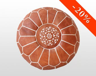 FREE shipping Moroccan leather pouf white dark and light brown