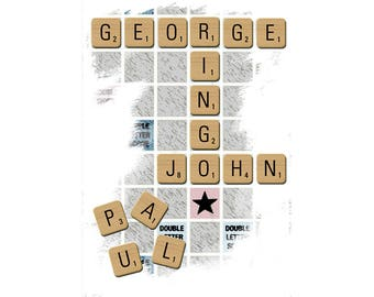 T-SHIRT: George John Paul Ringo / Scrabble - Classic T-Shirt & Ladies Fitted Tee - (LazyCarrot)