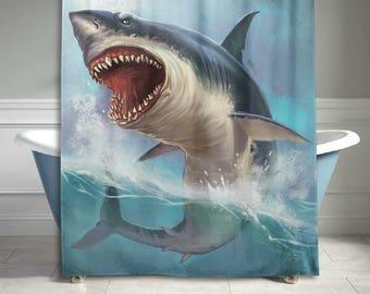 Shark Shower Curtain Etsy