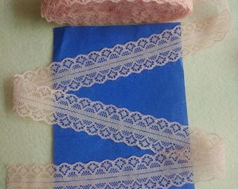 Sold by the yard - 100% cotton - salmon lace