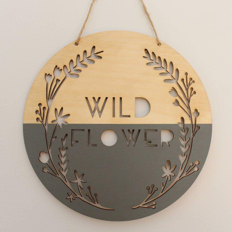 wild flower wooden banner, gray ? fall art ? wall hanging ? photo ...