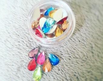 Cute festival nail art tear drop gems