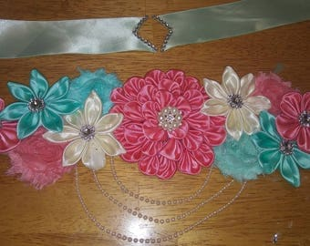 Coral, mint green and beige Maternity sash
