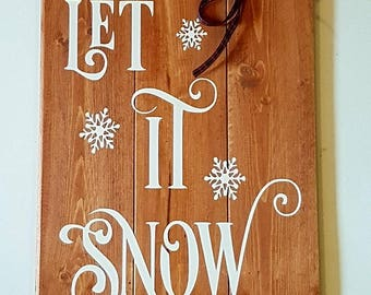 Seasonal Sign Let It Snow Christmas Winter Home Decor