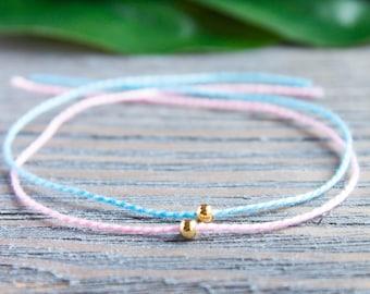 Mother Daughter Couples Bracelets Sisters Matching Bracelets Gold Beads Sterling Silver Wish Bracelet Pink Blue String Kabbalah Bracelet