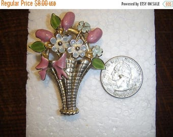 CIJ Vintage Flower Basket Brooch Posie's in a Basket Brooch Forget Me Nots and Rosebuds Brooch Pin