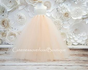 Peach Tutu Dress Flower Girl DressFlower