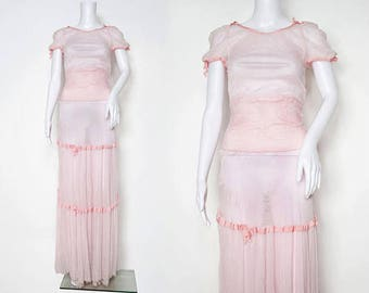 1930s Powder Pink Tulle Dress with Grosgrain Stripes and Bow Details