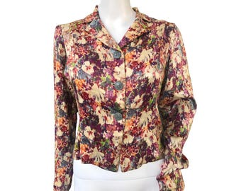 1940s Floral Satin Blouse - SOLD