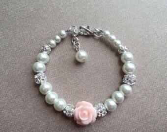 Baby girl jewelry, baby bracelet, baby pearl bracelet, flower girl bracelet, baptism bracelet gift christening bracelet, bridesmaid bracelet