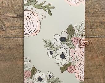 Gray Floral Travelers  Notebook - Midori Insert - TN Insert - Gray Floral Notebook - Scrapbook Insert - Planning Insert - Various Sizes