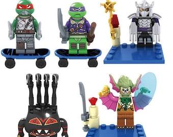 Lot of 5 Lego figures Ninja turtles customized