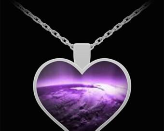 Purple and silver heart pendant