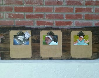 Rustic photo board wall decor on recycled wood pallet for 3 pictures