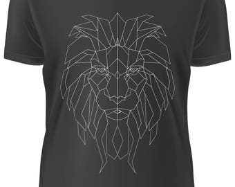 BLACK T-shirt - Lion low poly black and white -A-WD-018