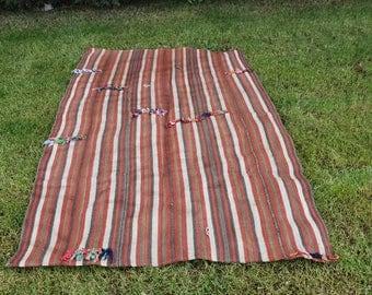 Rare Vintage Used For Curtain Handwoven Kilim Rug 4.4 x 7.1 feet Free Shipping Kilim Rugs Floor Rug Large Rug Vegetable dyed Boho Rug DC827