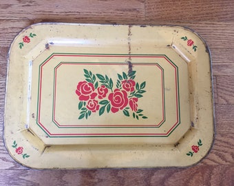Antique Vintage Rose Metal Tin Tray