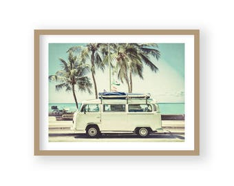 Retro Camper, Seaside Decor, Coastal Decor, Beach Decor, Beach Photography, Coastal Wall Art, Beach Wall Art, Coastal Prints,
