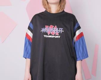 90s sport t-shirt size XL, basketball black gym tee, vintage slogan workout t-shirt, oversized slouchy tee, plus size vintage