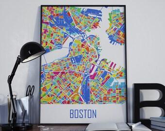 Boston Map Boston Watercolor Boston City Map Boston Travel Map Boston Street Map Boston Map Poster Boston Map Photo Boston Map Print Boston