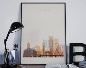 Toulouse Art Toulouse Watercolor Toulouse Wall Art Toulouse Multicolor Toulouse Print Toulouse Wall Decor Toulouse Poster Toulouse Photo