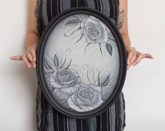 Oval Rose Painting