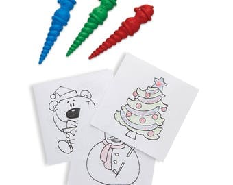 Christmas Arts & Crafts for Kids - Snowmen Shaped Crayons with Festive Drawings a Seasonal Activity Great For Classrooms / Nursery (1260999)