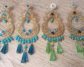 Blue and green Earrings/ Drop Dangle Earrings/ Chandelier Earrings/ Long Earrings/ Fashion Earrings/ Boho-Chic earrings/ Statement Earrings