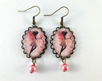 boucles d'oreilles fée rose papillonfleurs rétro