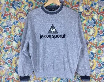 rare ! vintage le coq sportif embroidered pullover jumper crew neck sweatshirt