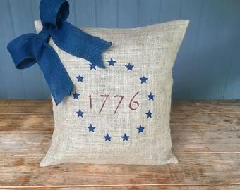 Patriotic Pillow, 1776, 1776 Pillow, American Pillow, Liberty Pillow, Americana 1776, July 4th, USA Pillow, Burlap Pillow