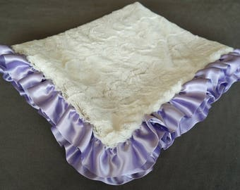 Arctic Fox Stroller Blanket with Satin Ruffle in Lavender