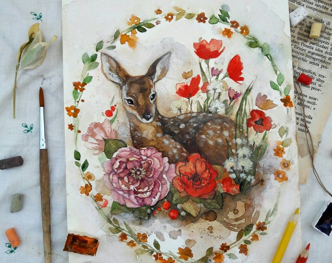 ORIGINAL watercolro painting, floral watercolor painting, forest deer, wall hanging, wall decor, wall art, fawn painting, gift, Russian art