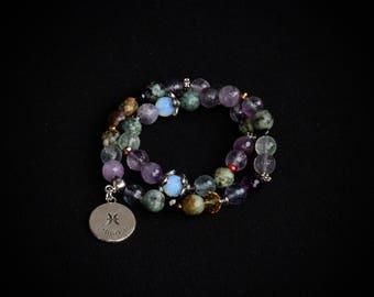 Natural stone bracelet. Gemstones. February March birthstone. Zodiac jewellery. Zodiac jewelry. Amethyst. African Turquoise. Fluorite