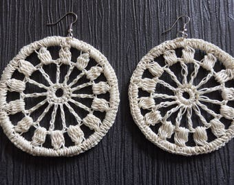 Romantic crocheted hoop earrings, ecru, off-white