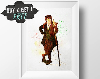The Hobbit Bilbo Baggins Wall Art, The Hobbit Art Print, Lord Of The Rings Decor, Lotr, Bilbo Art Print Printable Watercolor Poster Download