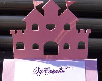 SET of 10 Place Card Castle / Princess christening - hand made