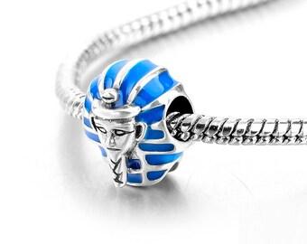 Sterling Silver Egyptian Charm - Pharaoh Charm - Egypt Charm - Blue Pharaoh Charm - Egypt God Charm -  Fits All Charm Bracelets