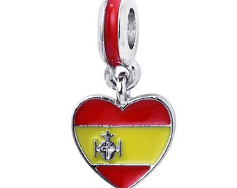 Spain Flag Charm - Spain Charm - Spain Heart Charm - I Love Spain Charm  - Spain Bead - Fits all Charm Bracelets