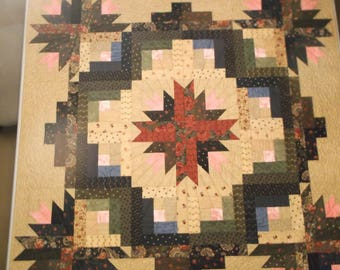 Wild Roses Quilt 60x60 Wall Hanging Sleeve Throw Handmade Machine Pieced/Quilted Patchwork Log Cabin Cactus Block Blue Green Red Brown OOAK