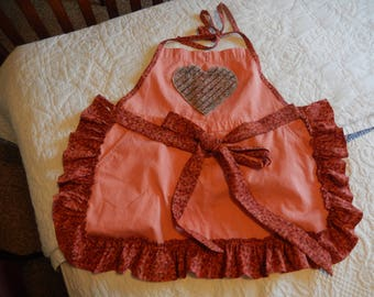 Orange Chenille Heart Apron