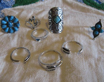 Vintage Rings and Toe Rings Silver Metal and Turquoise?