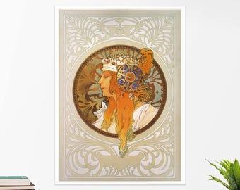 "Alfons Mucha, ""Byzantine Head"". Art poster, art print, rolled canvas, art canvas, wall art, wall decor"