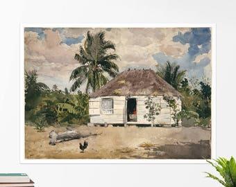 """Winslow Homer, """"Native Huts, Nassau"""".  Art poster, art print, rolled canvas, art canvas, wall art, wall decor"""