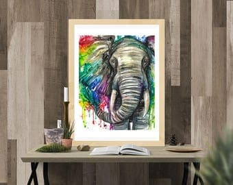 Rainbow Elephant Watercolor Fine Art Print