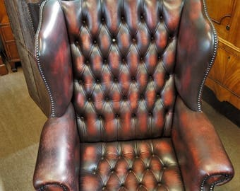 Chesterfield Wingback Chair (Ox Blood)