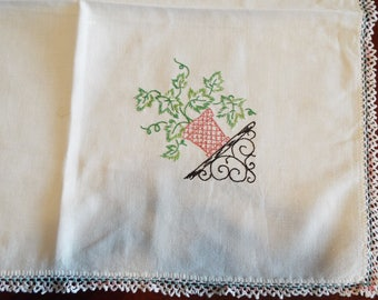 Vintage Linen Hand Embroidered Bridge Tablecloth Flower Posts
