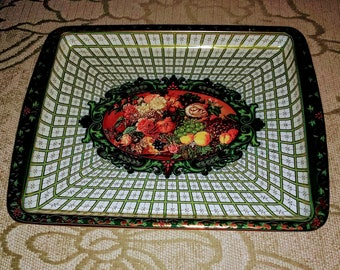 VTG 60's Serving Tray/Daher Decorated Ware/Small Metal Painted Tray/Mid-Century Metal Tray/Gift For her/No.368