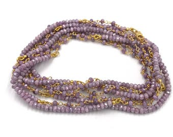 "Long 72"" pink silverite necklace, Wrap necklace, Pink necklace, Pink and gold necklace"